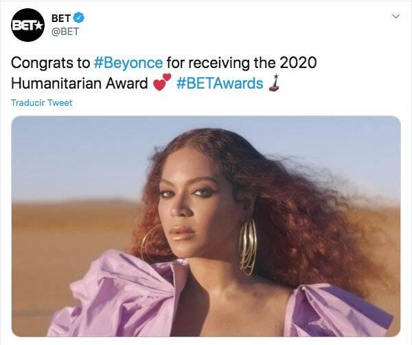 Beyonce recibe premio BET; apoya la igualdad racial