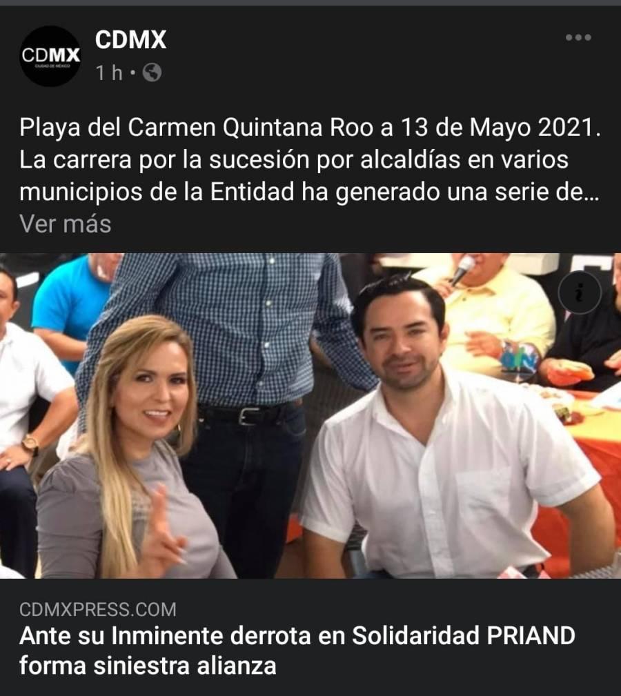 Se filtra en redes sociales una foto que presume una nueva alianza en Solidaridad, Quintana Roo