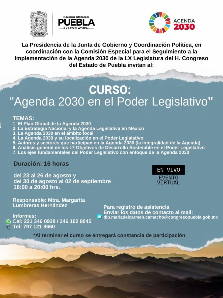 """Anuncia Congreso del Estado el curso """"La Agenda 2030 en el Poder Legislativo"""""""