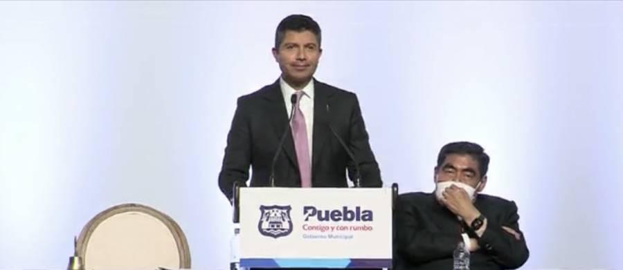 Eduardo Rivera rinde protesta como alcalde de Puebla con el cobijo de Marko Cortés y Barbosa